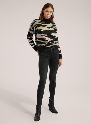 Monamoda Yüksel Bel Likralı Skinny Jean Pantolon Antrasit